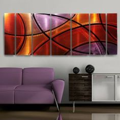Modern Abstract Metal Wall Art Red Painting Decor Sculpture Colors of