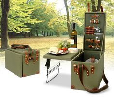 If you are planning for a romantic-date this weekend then how about going picnic with this ultra-suave Safari Picnic Box in tow! The stylish khaki green trunk has it all two of you will need to enjoy your picnic including two wine glasses (made of. Auto Camping, Camping Glamping, Camping Gear, Outdoor Camping, Picnic Box, Vintage Picnic Basket, Picnic Baskets, Gift Baskets, Materiel Camping