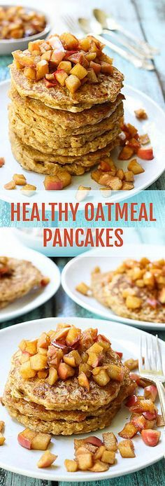 Oatmeal pancakes made from scratch using 100% whole grain oats and served with a delicious apple topping. Just as healthy as your apple cinnamon oatmeal.