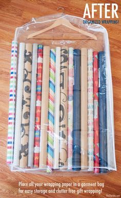15 Ridiculously Smart Organization Hacks - Store wrapping paper in a clear garment bag and hang in a closet. I missed getting a storage bag in the sales, so I will try this :) Organisation Hacks, Storage Hacks, Craft Organization, Craft Storage, Organizing Tips, Gift Bag Storage, Organising Hacks, Gift Wrap Organizer, Organizing Gift Bags
