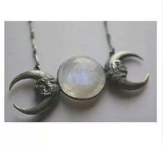 """The """"Triple Goddess"""" symbol of the waxing, full and waning moon, representing the aspects of Maiden, Mother, and Crone. (Neopaganism) NEED THIS IN MY LIFE Wiccan Jewelry, Goth Jewelry, Jewelry Box, Jewelry Accessories, Jewelry Necklaces, Pendant Jewelry, Goddess Symbols, Celtic Mythology, Triple Goddess"""