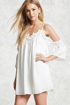 FOREVER 21+ Crochet Open-Shoulder Dress