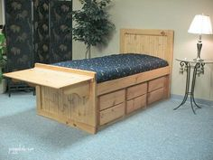 Folding Desk Captain's Bed. Like the desk and drawers but not a fan of the finish