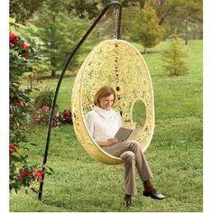 Amazing h ngesessel mit gestell im garten wei Flower Pod Chair and Cushion