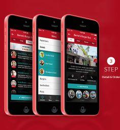 HNGR - ios7 based Food Truck Locator Application by Bouncy Studio, via Behance