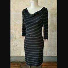 Loft Striped 3/4 Sleeve Cow Neck Dress