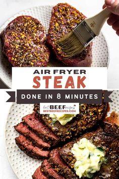 Steak Dinner Recipes, Good Steak Recipes, Best Beef Recipes, Air Fryer Dinner Recipes, Air Fryer Recipes Easy, Garlic Recipes, Favorite Recipes, Easy Recipes, Butter Sauce