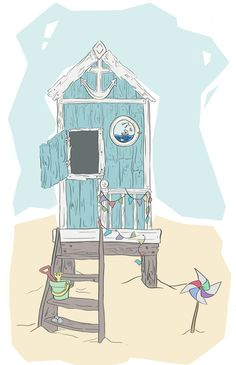 The Beach Hut - #print available to buy - copyright Kirsty Willette Illustration www.etsy.com/uk/shop/TeaForMeDesigns #illustration #art #drawing #summer #british #beachhut