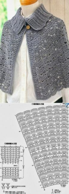 woman7.ru Crochet Cape, Crochet Shawl, Crochet Stitches, Knit Crochet, Crochet Girls, Crochet Videos, Vintage Crochet, Crochet Designs, Crochet Crafts
