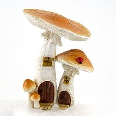 Top Collection 4373 Miniature Fairy Garden & Terrarium Cute Mushroom Houses Decor with Pick, Small Top Collection