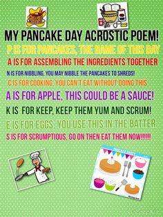 My daughter's acrostic poem for Pancake day