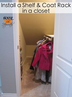 How to install a shelf and coat rack in a walk-in closet.  A tutorial from houseofhepworths.com