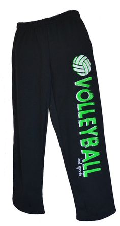 Volleyball Sweatpants in Black with Green Print