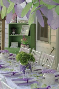 Frolicking Fairy Party...ruffled tablecloth,streaming ribbons & pastel colors...precious!