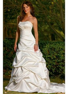 LACE BRIDESMAID PARTY BALL EVENING GOWN IVORY WHITE FORMAL PROM SATIN A-LINE STRAPLESS WEDDING DRESS