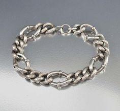 Antique Victorian Sterling Silver Albert Watch Chain Bracelet from boylerpf on Ruby Lane