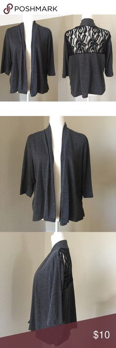 Gray Cardigan w/Lace Beautiful crop sized cardigan in a gray color with lace in the upper back area. In good used condition with normal signs of piling. Missing size tag but it's an XL and fabric is a mix of rayon, polyester and spandex. Ever Blue Sweaters Cardigans