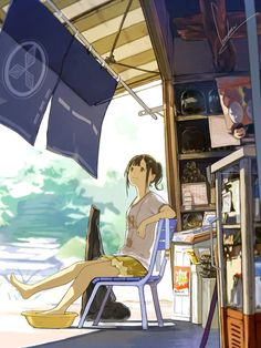 ✮ ANIME ART ✮ summer time. . .anime girl. . .hair pulled back. . .ponytail. . .relaxing. . .anime scenery. . .perspective. . .cute. . .kawaii