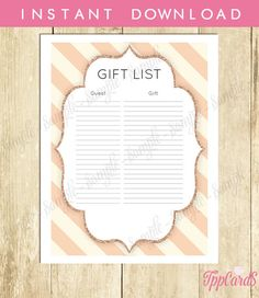 Gold and Pink Shower Gift List Glitter Baby Shower List Elegant Baby Shower Sign in Sheet Chic Baby Shower Registry 0063A TppCards by TppCardS #tppcards #printable #invitations