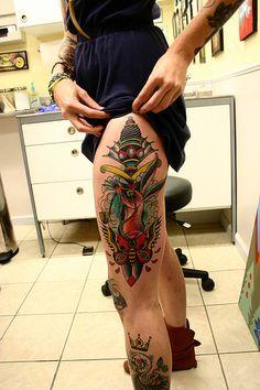 dagger & butterfly thigh #tattoos