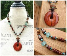 #Earthy boho necklace. Red, turquoise, stone with copper and wood