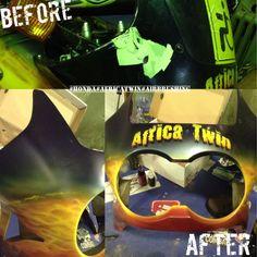 Восстановление рисунка Поверхность: деталь от мотоцикла Аэрограф: Iwata HP-C-Plus