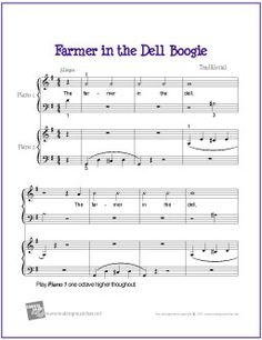 Free Sheet Music | Farmer in the Dell Boogie for Easy Piano Duet