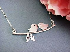 Silver Custom Love Birds on Branch Necklace your by ACutieChick, $26.00