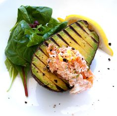 Grilled Avocados with Smoked Salmon Cream. Looks GOOD!
