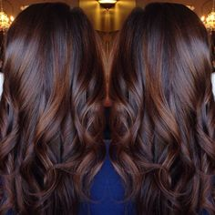 Dark red brown black balayage hairstyle