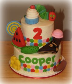 The very hungry caterpillar cake - everything is made out of fondant!