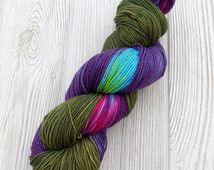 Hand Dyed, Hand Painted Green, Purple, Magenta, Turquoise Superwash Yarn -Made to Order-