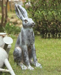 Features: -Rabbit statue. -Constructed of resin. -Animal theme. Product Type: -Statue. Color: -Black. Distressed: -Yes. Style: -Rustic. Material: -Resin/Plastic. Theme: -Animal. Holiday Them