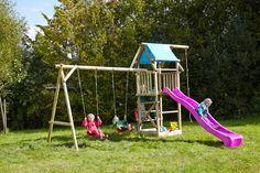 Spielturm Asterix mit Doppelschaukel und violetter Rutsche bei dein-spielplatz.de unter http://www.dein-spielplatz.de/de_de/spielgeraete/schaukel-kinderspielturm/spielturm-doppelschaukel-sandkasten-asterix-xl
