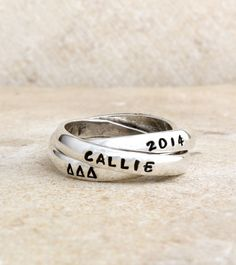 Sterling Silver Mothers Stamped Family Name Ring