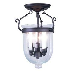 Livex Lighting 10-in Bronze Clear Glass Semi-Flush Mount Light