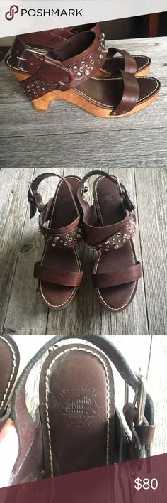 Vintage Leather Frye wedge Vintage • FRYE • brown leather • wedge • buckles • silver and jeweled • good condition • wear and tear at toe on sole • size 7.5 Frye Shoes Heels