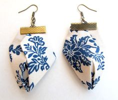 Floral blue fabric origami earrings by Gilgulim on Etsy, $18.80