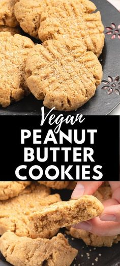 Oil-free and super easy vegan peanut butter cookies taste just like the classic version with this recipe from A Virtual Vegan. Whip up a batch in less than 30 minutes or freeze them for later. Simple ingredients only! #vegan #peanutbutter #baking #snack #oilfree #dessert #cookies