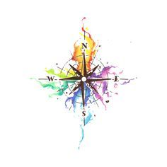 Water colour compass - Test drive your custom tattoo with the most realistic temporary tattoos on the planet, only at Momentaryink.com.