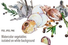 Watercolor vegetables by Asetrova Ann on @creativemarket