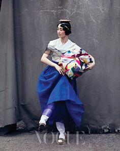 블루계열한복/보그코리아한복/한복화보/모시한복
