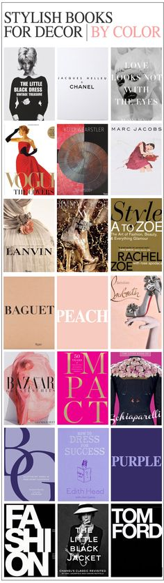 Stylish books for decor by color