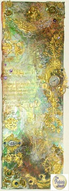 Robin's Nest Design Team Submission: Springtime Steampunk altercanvas assemblage/collage. Found and vintage items. Mixed Media. Available https://www.zibbet.com/enchanted-revelries/springtime-steampunk-altered-canvas