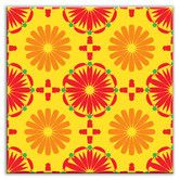 Folksy Love Decorative Tile in Kaleidoscope Yellow-Orange-Red