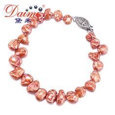 DAIMI 7-8mm Baroque Pearl Bracelet  Natural Freshwater Pearl Elastic Bracelet Fashion Baroque Pearl