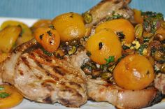 Pork cutlets are chargrilled to tenderness and topped with a fresh combination of sweet apricots, delicate pistachios and zesty lime. The beautiful bala. Pork Cutlets, Pistachios, Meal Recipes, Main Meals, Food To Make, Lime, Delicate, Leaves, Fresh