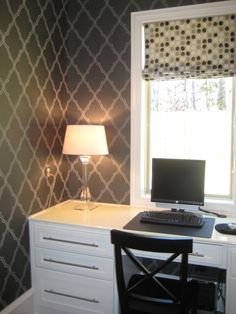 Computer Room featuring Candace Olsen wallpaper-designed by Renee Burnell Interiors