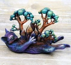 "Cat And her World Sculpture by Evgeny Hontor. Pet Miniature Figurine handmade polymer clay animal velvet clay resin casting cat lover gift. This original fantasy sculpture is called ""Cat and her world"". It made with love and will be a good gift for cat lovers."