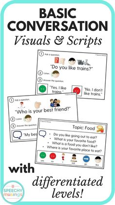 Leveled conversation visuals to target asking and answering questions and greetings. Perfect for students with autism! Targets yes/no questions, wh questions, and open ended questions. From Speechy Musings.